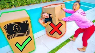 DON'T PUSH THE WRONG BOX IN THE POOL!! ($10,000 DOLLAR CHALLENGE)