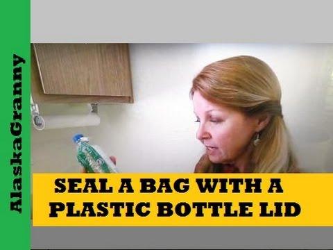 Reuse plastic bottle tops to seal food storage bags