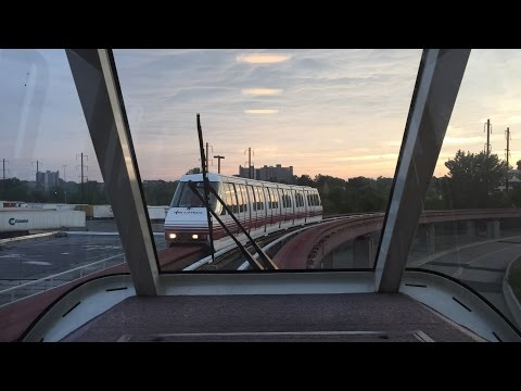 AirTrain Newark HD 60 FPS: Riding Monorail Train From Terminal C to Rail Link Station 7/30/15