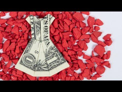 Money gift idea: Wedding dress, dollar bill origami tutorial