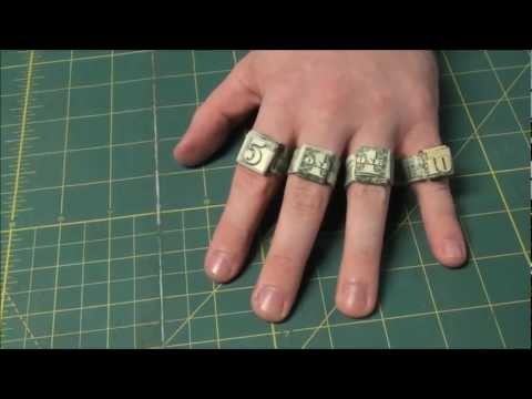 Easiest Way to Make Origami Dollar Rings - Ones, Fives and Tens Money Ring