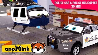 appMink car animation – Police Car & Police Helicopter Saving appMink Town