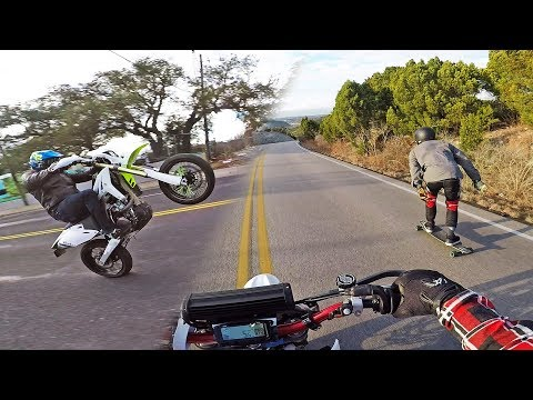SUPERMOTO vs LONGBOARDER!