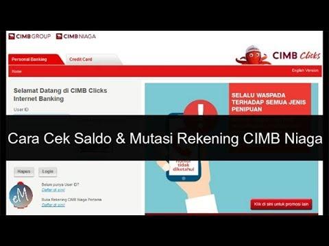 Cara Cek Saldo & Mutasi Rekening CIMB Niaga Via Internet Banking CIMB Clicks