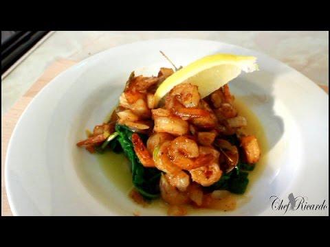 Jerk King Prawn Served With Stir Fry Spinach (Jamaican Chef) | Recipes By Chef Ricardo