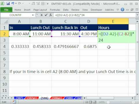 Excel Magic Trick 598: Hours Worked In Day Including Lunch Breaks