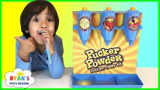 Download PUCKER POWDER Custom Candy Kit! Sweet and Sour Kids Candy Review! Ryan ToysReview Video
