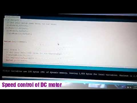 Speed control of DC motor using Arduino and potentiometer