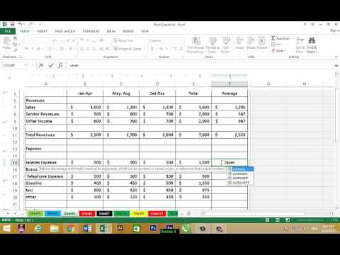 How to total Revenues, Total Expanses and net income. Excel 2013