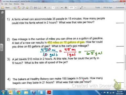 Common Core Math: Unit Rates Miles per Gallon