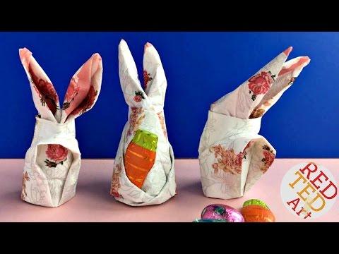 Easy Napkin Bunny DIY - Easter Decor DIY - Origami Bunny