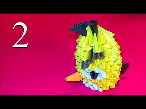 How to make Yellow Angry bird 3D origami tutorial