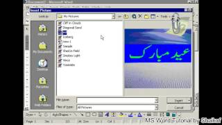 insert pictures using dialog window in MS word tutorial by Shaikof