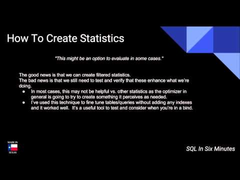 TSQL: How To Create Statistics