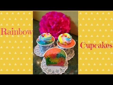 DIY- How to make Eggless Rainbow Cupcakes (Without condensed milk)
