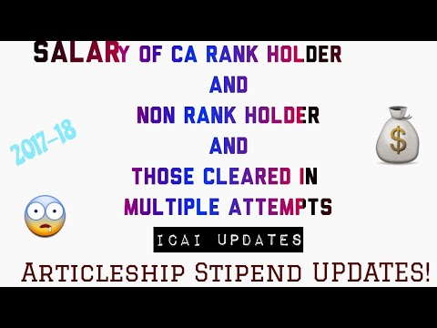 Salary of CA Rank Holders And Non Rank Holders in India   ICAI Articleship Stipend Updates  