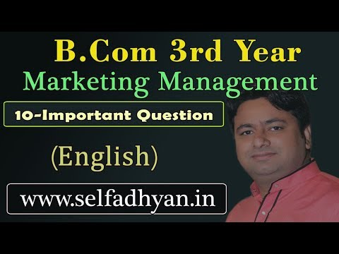 10 Most Important Question - Marketing Management - Bcom 3rd year  notes PDF | Marketing management