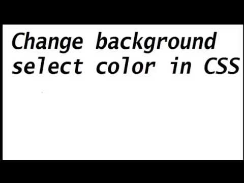Change Background Select Color in CSS