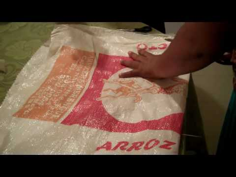Cutting out the Rice bag purse