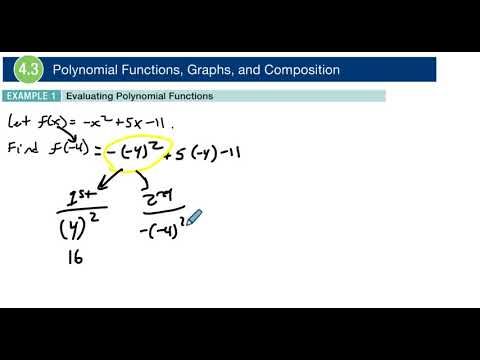 4.3 Example 1 Evaluating Polynomial Functions