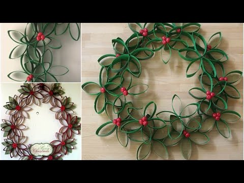 Wreath Made out of Toilet Paper Rolls- DIY Toilet Paper Roll Crafts You Need to See- CHRISTMAS CRAFT