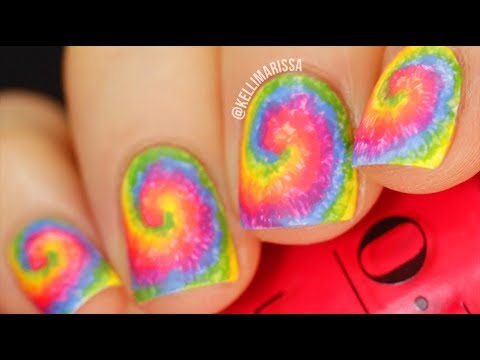 EASY Rainbow Tie Dye Nail Art Design Tutorial (Pride Manicure!) || KELLI MARISSA