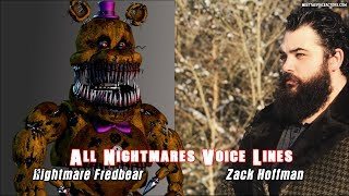 All Nightmares Characters Voice Lines Actors in FNAF Ultimate Custom Night