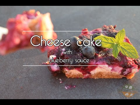 Cheese cake with blueberry sauce made with sous vide machine