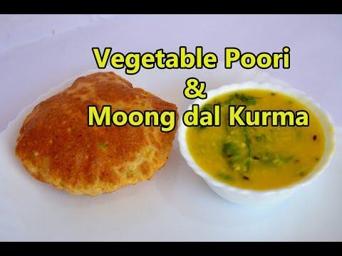 Vegtable poori & Moong dal kurma | வெஜிடபுள் பூரி| பாசிபருப்பு குருமா  | Breakfast Menu