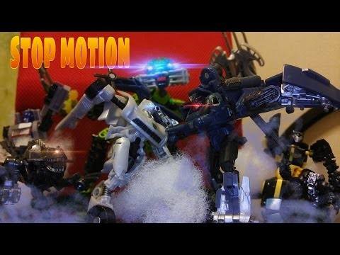 transformers stop motion sideswipe vs blackout vs lego