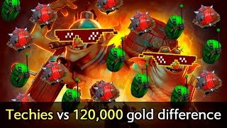 120,000 gold difference vs Techies and Megacreeps — 4 hrs Dota 2