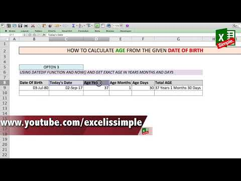 Quick Age calculator in excel | Find age from Date of Birth (DOB)