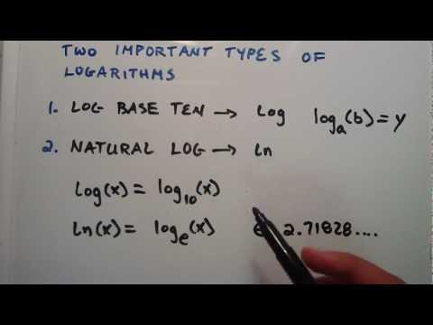 What are the Two Important Types of Logarithms ( Log Base e and Log Base 10 ) : Logarithms, Lesson 3
