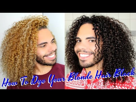 How To Dye /Color Blonde Curly Hair Black /Dark Brown Yourself Safely Using Keraphlex Olaplex