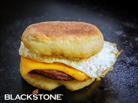 Breakfast Sausage, Egg, and Cheese on a Homemade English Muffin on the Blackstone Griddle