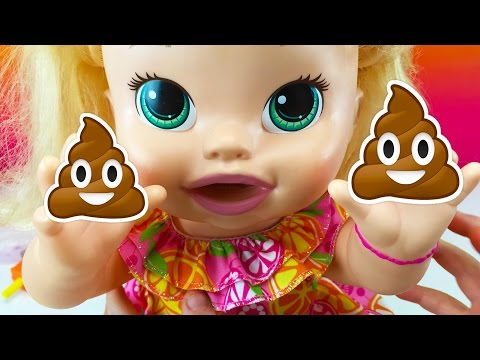 Baby Dolls Baby Alive Snackin Sara Eats Play Doh Food and Poops W/ Fun Factory and Play Doh Girl