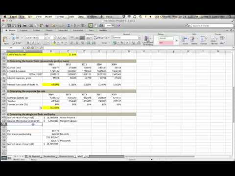 Project S15 - Finding weights of debt and equity