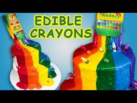 Crayon Waterfall Cake (Back to School) w/ Edible Crayons Rainbow Cake