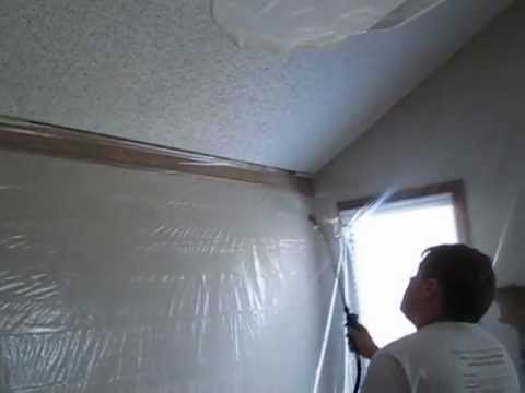 Removing popcorn ceilings step 1