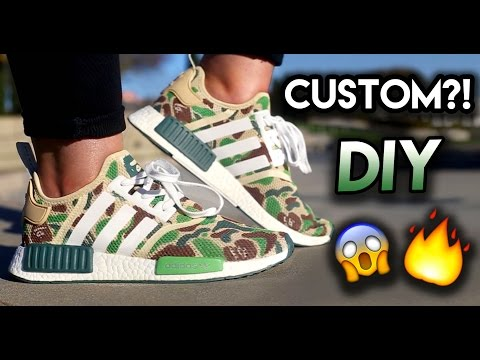 How To: Bape NMD Custom From All White Adidas | Full Painting Timelapse Tutorial + On Feet