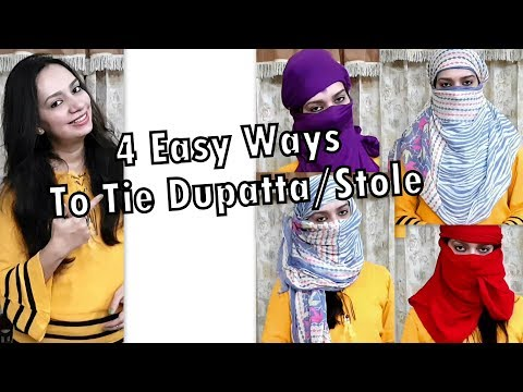 4Style/Ways to tie summer scarf/Dupatta/Stole| How to cover face with stole for different Hairstyle