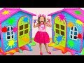Sasha Paints And Decorates Playhouses Play In Coloring Challenge With Toys