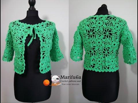 How to crochet jacket bolero with motifs all sizes free tutorial by marifu6a