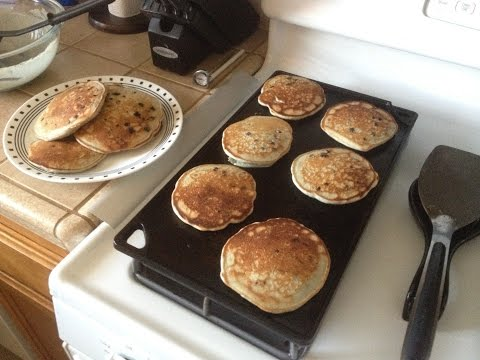 Blueberry Pancakes On Cast Iron Griddle (quick video)