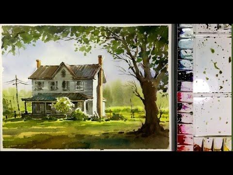 Watercolor Painting Demonstration :  Sunlight into garden