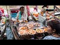 Thai Food at Amphawa Floating Market - Thailand SEAFOOD FEAST Cooked on a Boat!