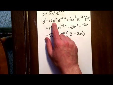 2 derivative using product rule and an exponential function