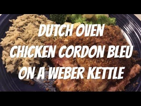 Chicken Cordon Bleu Dutch oven style on a Weber Kettle