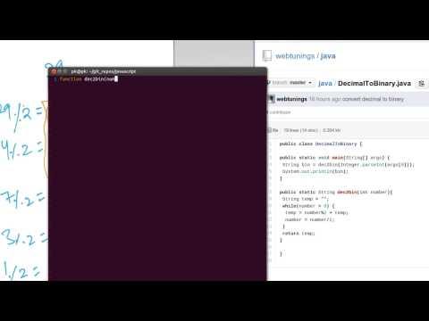 JavaScript Tutorial - decimal to binary conversion