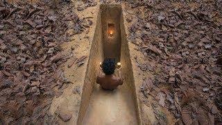 Build Secret Underground Slide Tunnel Villa in Deep Jungle by Ancient Skills